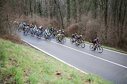 Hannah Barnes (GBR) of CANYON//SRAM Racing leads the peloton up the climb during the Trofeo Alfredo Binda - a 131,1 km road race, between Taino and Cittiglio on March 18, 2018, in Varese, Italy. (Photo by Balint Hamvas/Velofocus.com)