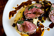 Lamb top sirloin with soft polenta, eggplant, zucchini and black olives at Pub Thirty Two in Mission Viejo.<br /> ///ADDITIONAL INFORMATION: food.oc.shortorder.PubThirtyTwo.0903 &ndash; 8/22/14 &ndash; NICK AGRO, ORANGE COUNTY REGISTER<br /> SHORT ORDER, FOR SEPT 3<br /> Pub Thirty Two<br /> 23962 Alicia Pkwy., Mission Viejo<br /> 949.716.0687