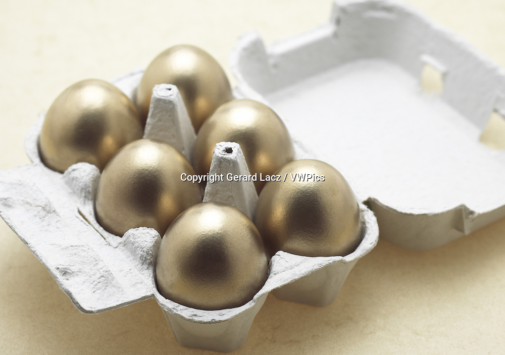 Chicken Eggs in Eggbox, Symbolic Image for Gold Egg with Hen