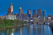 Philadelphia PA, skyline, reflections, View, Schuylkill River, Expressway, USA