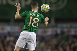 November 15, 2018 - Dublin, Ireland - Darragh Lenihan of Ireland heads the ball during the International Friendly match between Republic of Ireland and Northern Ireland at Aviva Stadium in Dublin, Ireland on November 15, 2018  (Credit Image: © Andrew Surma/NurPhoto via ZUMA Press)