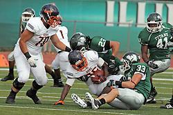 28 September 2013:  Shawn Jackson gets stopped by Connor Klein and Stephen McGinnis during an NCAA division 3 football game between the Hope College Flying Dutchmen and the Illinois Wesleyan Titans in Tucci Stadium on Wilder Field, Bloomington IL