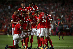 August 9, 2017 - Lisbon, Portugal - Benfica's players celebrating their goal during the Portuguese League  football match between SL Benfica and SC Braga at Luz  Stadium in Lisbon on August 9, 2017. (Credit Image: © Carlos Costa/NurPhoto via ZUMA Press)