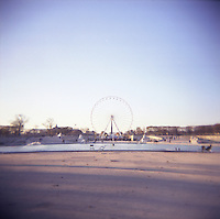 Big wheel at Tulliers gardens Paris France photograph taken with Holga film camera