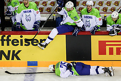 Robert Sabolic of Slovenia, Jan Urbas of Slovenia during Ice Hockey match between National Teams of Great Britain and Slovenia in Round #1 of 2018 IIHF Ice Hockey World Championship Division I Group A, on April 22, 2018 in Budapest, Hungary. Photo by David Balogh / Sportida