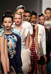 © under license to London News Pictures. 21/02/11. Models walk down the catwalk wearing clothes by designer Holly Fulton. Credit should read Matt Cetti-Roberts/LNP