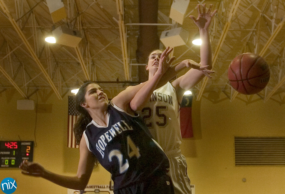 Jay M. Robinson's Tabby Koerner and Hopewell's Bridgit Ansbro Tuesday night in Concord.