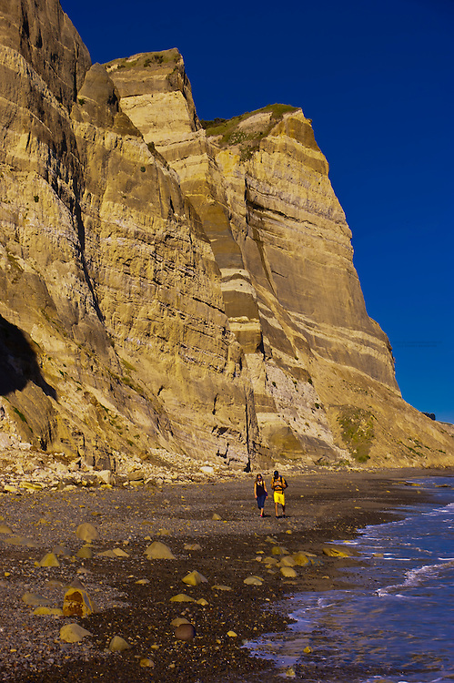 People walking along the beach to the Cape Kidnappers Gannet Colony, Hawke's Bay, North Island, New Zealand