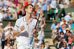 LONDON, ENGLAND - Wednesday, July 1, 2009: Andy Murray (GBR) celebrates after his 7-5, 6-3, 6-2 victory during the Gentlemen's Singles Quarterfinal on day nine of the Wimbledon Lawn Tennis Championships at the All England Lawn Tennis and Croquet Club. (Pic by David Rawcliffe/Propaganda)
