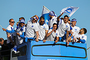 Brighton and Hove Albion Players celebrate during the Brighton & Hove Albion Football Club Promotion Parade at Brighton Seafront, Brighton, East Sussex. United Kingdom on 14 May 2017. Photo by Ellie Hoad.