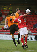 Photo: Rich Eaton.<br /> <br /> Crewe Alexandra v Hull City. Carling Cup. 15/08/2007. Crewe's Tom Pope handballs and the referee gives a penalty to Hull and Michael Bridges scores.