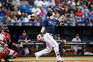 July 8, 2017 - St. Petersburg, Florida, U.S. - WILL VRAGOVIC   |   Times.Tampa Bay Rays designated hitter Corey Dickerson (10) pops up to short in the third inning of the game between the Boston Red Sox and the Tampa Bay Rays at Tropicana Field in St. Petersburg, Fla. on Saturday, July 8, 2017. (Credit Image: © Will Vragovic/Tampa Bay Times via ZUMA Wire)
