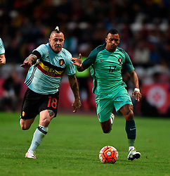 Portugal's Nani (R) vies with Belgium's Nainggolan during a friendly soccer match betweem Portugal and Belgium in preparation for Euro 2016 in France at Leiria Municipal Stadium, Portugal, on March 29, 2016. Portugal won 2-1. EXPA Pictures © 2016, PhotoCredit: EXPA/ Photoshot/ Zhang Liyun<br /> <br /> *****ATTENTION - for AUT, SLO, CRO, SRB, BIH, MAZ, SUI only*****