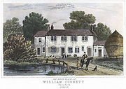 William Cobbett (1763-1835). English writer, champion of the poor and radical politician and publisher. The house at Farnham, Kent, in which Cobbett was born. Print published London 1834.