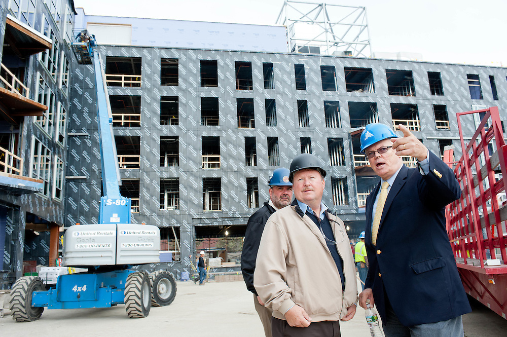 New England's AFL-CIO Office's Senior VP and Director Thomas J. O'Malley on the Charlesview Apartments construction site in Allston, MA.