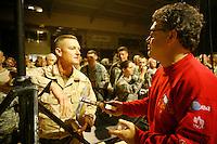 al franken greets soldiers in Tikrit, Iraq, during uso tour<br /><br />photo by Owen Franken<br /><br />Dec 2006