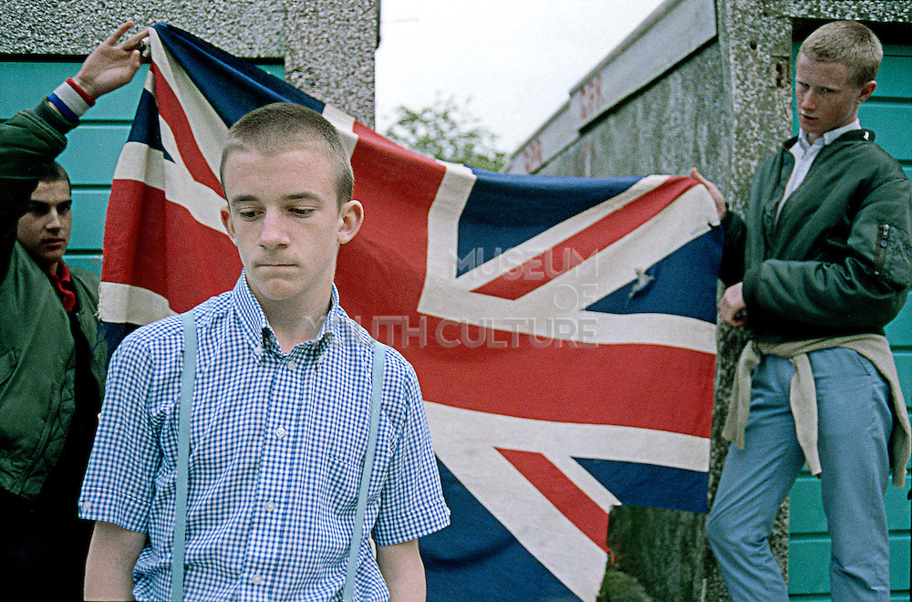Lee, Neville and Paul with Union Jack, Hawthorne Rd, UK, 1980s.