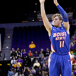 December 10, 2011; Baton Rouge, LA; Boise State Broncos guard Jeff Elorriaga (11) shoots against the LSU Tigers during the second half of a game at the Pete Maravich Assembly Center. LSU defeated Bosie State 64-45. Mandatory Credit: Derick E. Hingle-US PRESSWIRE