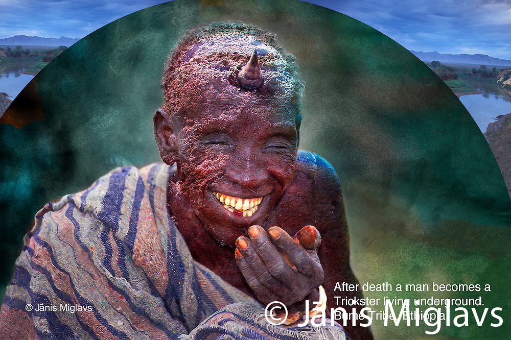 The Nyangatom (Bume) believe that after a person dies, he lives underground and becomes a mischievous trickster. Nyangatom (Bume) tribe, Omo River, Ethiopia, Africa