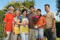 Three couples gardening, portrait