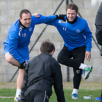 St Johnstone Training....11.04.14<br /> Lee Croft and Stevie May during training this morning ahead of Sunday's Scottish Cup semi-fnal against Aberdeen.<br /> Picture by Graeme Hart.<br /> Copyright Perthshire Picture Agency<br /> Tel: 01738 623350  Mobile: 07990 594431