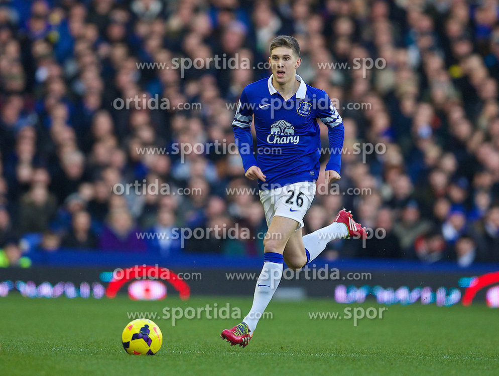 11.01.2014, Goodison Park, Liverpool, ENG, Premier League, FC Everton vs Norwich City, 21. Runde, im Bild Everton's John Stones, action against Norwich City during the Premiership match at Goodison Park // during the English Premier League 21th round match between Everton FC and Norwich City FC at the Goodison Park in Liverpool, Great Britain on 2014/01/11. EXPA Pictures &copy; 2014, PhotoCredit: EXPA/ Propagandaphoto/ David Rawcliffe<br /> <br /> *****ATTENTION - OUT of ENG, GBR*****