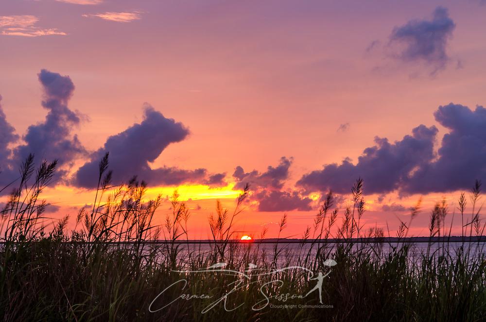 The sun sets over Heron Bay in Cedar Point, Alabama June 23, 2013. (Photo by Carmen K. Sisson.Cloudybright)