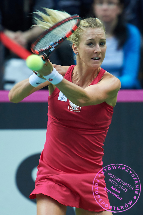 Urszula Radwanska of Poland competes during the Fed Cup / World Group Play Off tennis match between Poland and Switzerland on April 18, 2015 in Zielona Gora, Poland<br /> Poland, Zielona Gora, April 18, 2015<br /> <br /> Picture also available in RAW (NEF) or TIFF format on special request.<br /> <br /> For editorial use only. Any commercial or promotional use requires permission.<br /> <br /> Adam Nurkiewicz declares that he has no rights to the image of people at the photographs of his authorship.<br /> <br /> Mandatory credit:<br /> Photo by &copy; Adam Nurkiewicz / Mediasport