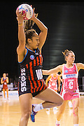 Erikana Pendersen for the Tactix with the ball during the ANZ Championship Netball game between the Mainland Tactix v Adelaide Thunderbirds at Horncastle Arena in Christchurch. 20th April 2015 Photo: Joseph Johnson/www.photosport.co.nz