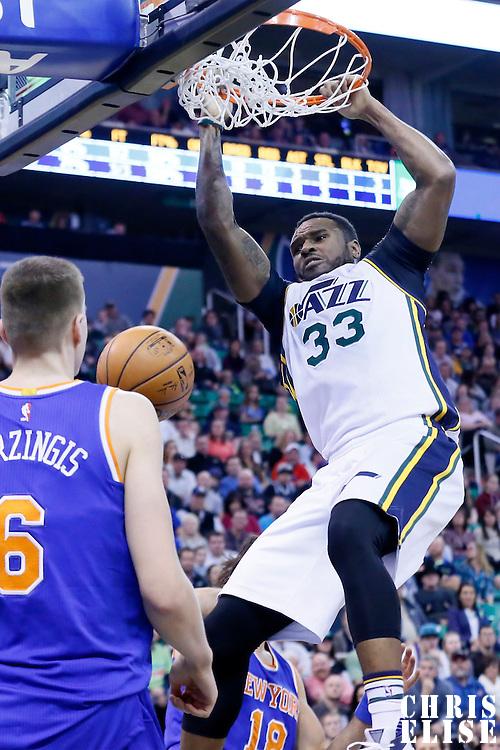 09 December 2015: Utah Jazz forward Trevor Booker (33) dunks the ball during the Utah Jazz 106-85 victory over the New York Knicks, at the Vivint Smart Home Arena, Salt Lake City, Utah, USA.