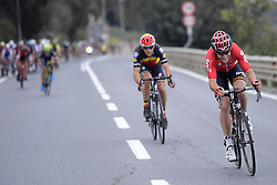 March 18, 2017 - San Remo, Italie - SANREMO, ITALY - MARCH 18 : GALLOPIN Tony (FRA) Rider of Team Lotto - Soudal is attacking in front of GILBERT Philippe (BEL) Rider of Quick-Step Floors Cycling team during the UCI WorldTour 108th Milan - Sanremo cycling race with start in Milan and finish at the Via Roma in Sanremo on March 18, 2017 in Sanremo, Italy, 18/03/2017 (Credit Image: © Panoramic via ZUMA Press)