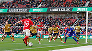 Middlesbrough midfielder Stewart Downing (19) tries to find a team mate during the EFL Sky Bet Championship match between Middlesbrough and Nottingham Forest at the Riverside Stadium, Middlesbrough, England on 6 October 2018.