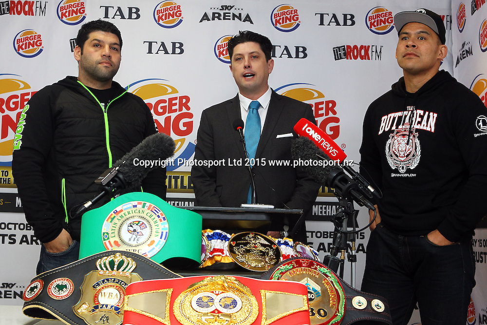 (L to R) Kaleni Taetuli, Craig Stanaway and 'Brown Buttabean' Dave Letele, Burger King, Road to the Title press conference ahead of Thursdays boxing event. Burger king Lincoln Rd, Auckland. 13 October 2015. Copyright Photo: William Booth / www.photosport.nz