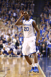 Kentucky guard Doron Lamb signals a three point basket in the first half. UK hosted Ole Miss Saturday, Feb. 18, 2012 at Rupp Arena in Lexington . Photo by