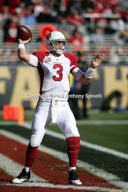 Arizona Cardinals quarterback Carson Palmer (3) throws a pass from his own end zone during the 2015 week 12 regular season NFL football game against the San Francisco 49ers on Sunday, Nov. 29, 2015 in Santa Clara, Calif. The Cardinals won the game 19-13. (©Paul Anthony Spinelli)