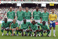 Fotball<br /> Foto: Dppi/Digitalsport<br /> NORWAY ONLY<br /> <br /> INTERTOTO CUP 2005/2006 - 3RD ROUND - 2ND LEG<br /> <br /> AS SAINT ETIENNE v CLUJ - 24/07/2005<br /> <br /> TEAM ST ETIENNE ( BACK ROW LEFT TO RIGHT : ALAEDDINE YAHIA / DAMIEN PERQUIS / VINCENT HOGNON / FREDERIC PIQUIONNE / JULIEN SABLE / JEREMY JANOT . FRONT ROW : PASCAL FEINDOUNO / DAVID HELLEBUYCK / HERITA ILUNGA / DIDIER ZOKORA / FREDERIC MENDY )