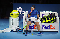 Tennis - 2017 Nitto ATP Finals  at The 02 - Day Two, Monday<br /> <br /> Rafael Nadal v David Goffin<br /> <br /> Rafael Nadal shows his dejection after losing his serve in the last set<br /> <br /> COLORSPORT/ANDREW COWIE