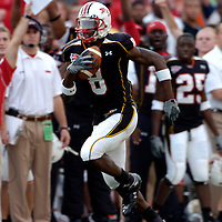 11 November 2006:   The University of Maryland's Darrius Heyward-Bey (8) catches a 96 yard touchdown pass from Sam Hollenbach in the second quarter against Miami University.  It was the longest touchdown on a pass play ever given up by Miami University. The Maryland Terrapins defeated the Miami University Hurricanes 14-13 at Byrd Stadium in College Park, Maryland.<br />