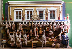 Miniature Butcher's Shop  on display at  refurbished Museum of Childhood on the Royal Mile in Edinburgh Old Town, Scotland, United Kingdom