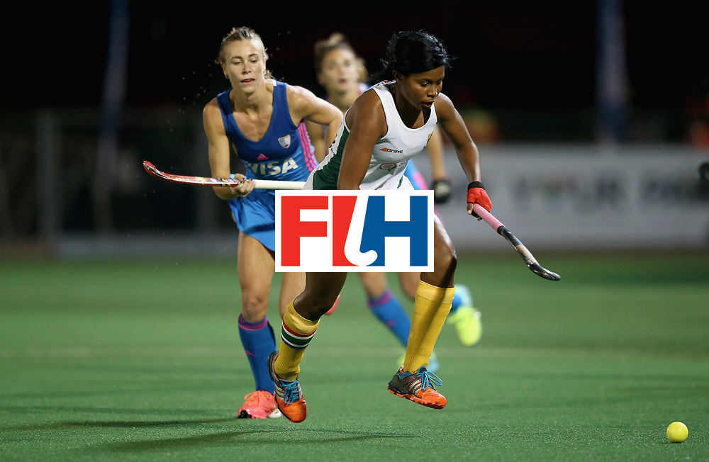 JOHANNESBURG, SOUTH AFRICA - JULY 12: Sulette Damons of South Africa and Agustina Habif of Argentina battle for possession during day 3 of the FIH Hockey World League Semi Finals Pool B match between South Africa and Argentina at Wits University on July 12, 2017 in Johannesburg, South Africa. (Photo by Jan Kruger/Getty Images for FIH)