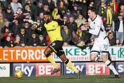 Burton Albion striker Darren Bent (9) runs with the ball away from Millwall defender Jake Cooper (35) during the EFL Sky Bet Championship match between Burton Albion and Millwall at the Pirelli Stadium, Burton upon Trent, England on 24 February 2018. Picture by Richard Holmes.
