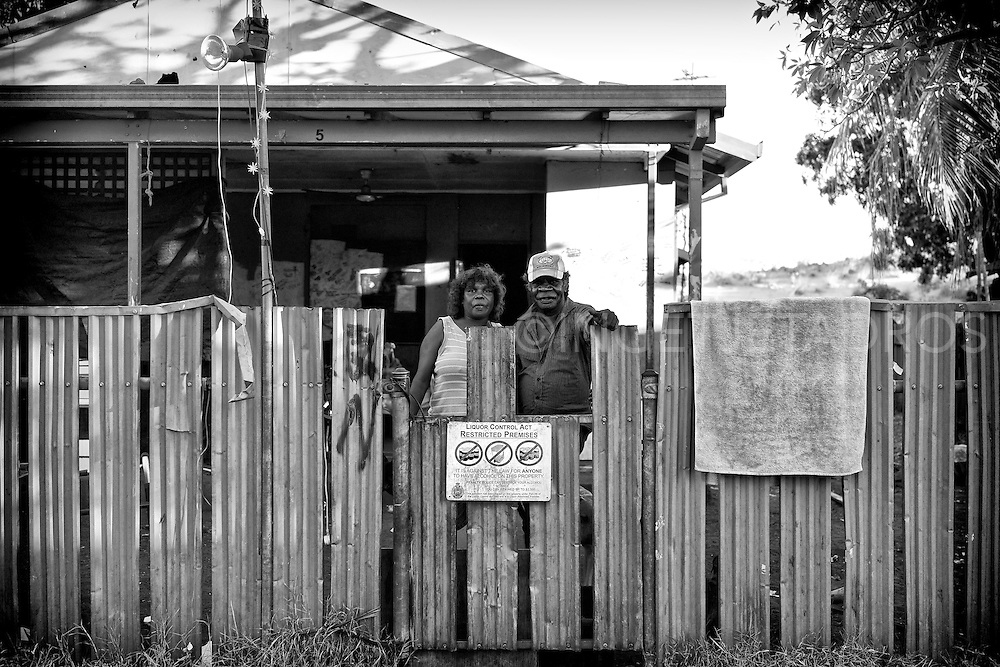 Lynette and John where living temporally in Kennedy Hill. Recently they returned to  their own community in Mudawaloop (outside of Halls Creek), now they are very concerned about the future of their community as the West Australian Government has the plan to close up to 150 Aboriginal communities in the state. Broome, Western Australia. ©Ingetje Tadros/Diimex