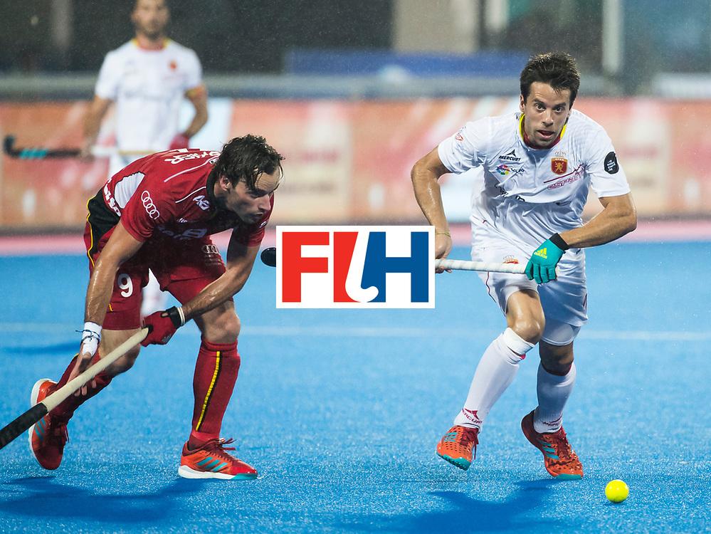 BHUBANESWAR - Sebastien Dockier (Bel) met /S10/  Hockey World League finals , wedstrijd om de 5e plaats. Belgie-Spanje.  COPYRIGHT KOEN SUYK