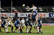 Saracens second-row Nick Isiekwe feeds the ball from a line out to No.8 Jackson Wray during the Aviva Premiership match Sale Sharks -V- Saracens at The AJ Bell Stadium, Salford, Greater Manchester, England on Friday, February 16, 2018. (Steve Flynn/Image of Sport)