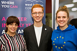 Pictured: Terry Reintke (blue hoodie); Ross Greer (glasses and ginger hair), Patricia Santana Ramirez (Striped shirt) and Alison Johnstone (blue jacket)<br /> <br /> German politician Terry Reintke, MEP, joined Scottish Greens education spokesman Ross Greer and Greens MSP colleague Alison Johnstone today on a visit to West Lothian College to discuss the potential impact of Brexit on the Erasmus+ programme for students. All the polliticians met Patricia Santana Ramirez from Spain who is concerned over the uncertainty the Brexit negotiations will have on the Eurasmus + programme<br /> <br /> Ger Harley   EEm 22 March 2019