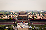 Aerial view of the Forbidden City as seen from Prospect Hill in Jing Shan Park during summer in Beijing, China