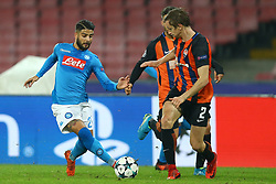 November 21, 2017 - Naples, Italy - Lorenzo Insigne of Napoli and Bohdan Butko of Shakhtar Donetsk at San Paolo Stadium in Naples, Italy on November 21, 2017, during  the UEFA Champions League Group F football match Napoli vs Shakhtar Donetsk on November 21, 2017 at the San Paolo stadium in Naples. (Credit Image: © Matteo Ciambelli/NurPhoto via ZUMA Press)