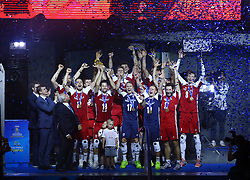 September 30, 2018 - Turin, Italy - Poland v Brazil - FIVP Men's World Championship Final.Poland celebrates with the trophy during the award ceremony at Pala Alpitour in Turin, Italy on September 30, 2018. (Credit Image: © Matteo Ciambelli/NurPhoto/ZUMA Press)
