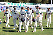 Glamorgan Win - Chris Cooke leads off his victorious side during the Specsavers County Champ Div 2 match between Glamorgan County Cricket Club and Leicestershire County Cricket Club at the SWALEC Stadium, Cardiff, United Kingdom on 19 September 2019.