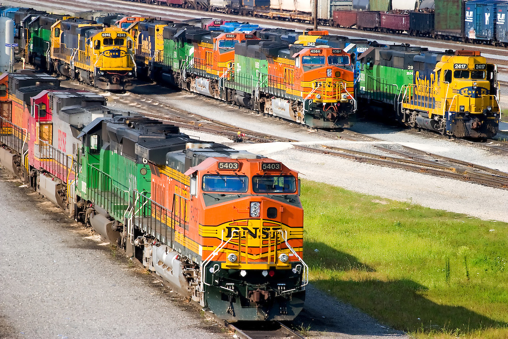 A colorful assortment of locomotives fills the BNSF Railway's yard in Galesburg, IL.